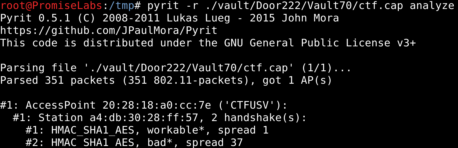 # pyrit -r ./vault/Door222/Vault70/ctf.cap analyze