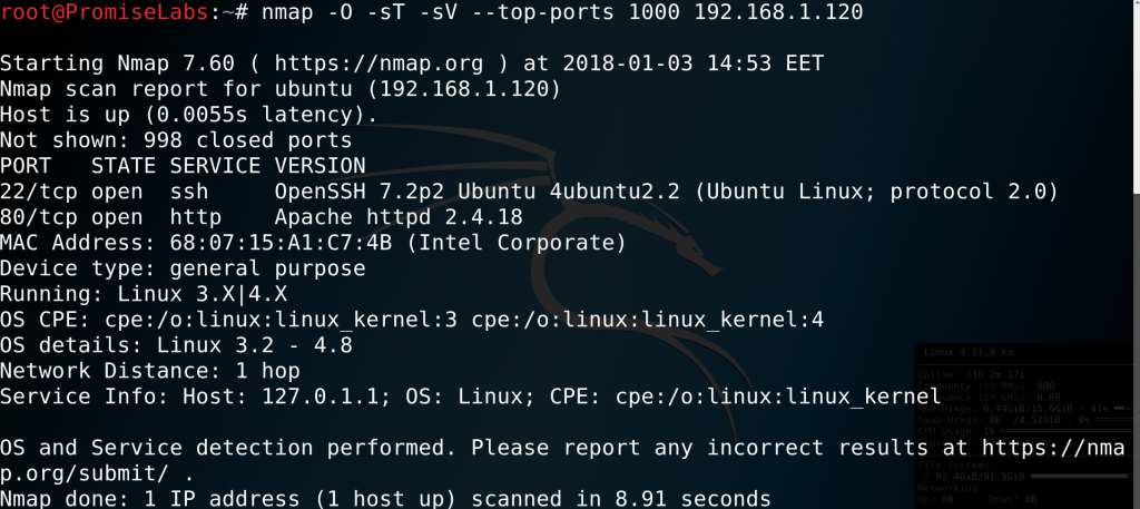 # nmap -O -sT -sV --top-ports 1000 192.168.1.120