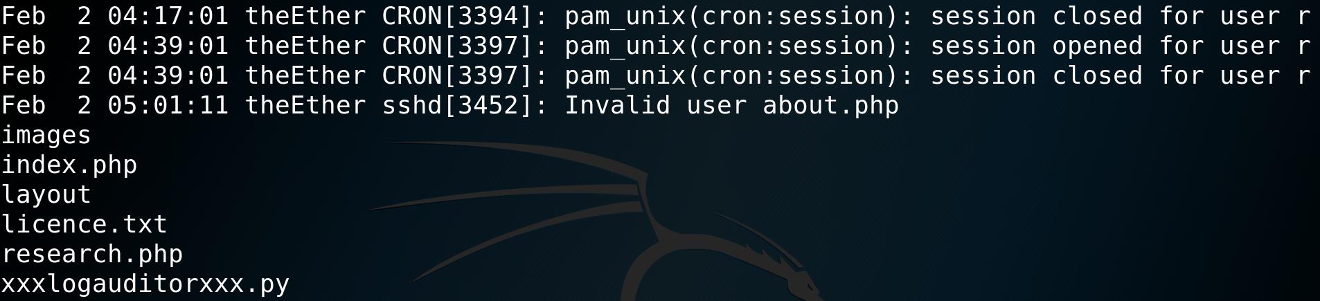 Listing directory contents via an RCE (contaminating ssh auth.log) - CTF - vulnhub - walkthrough