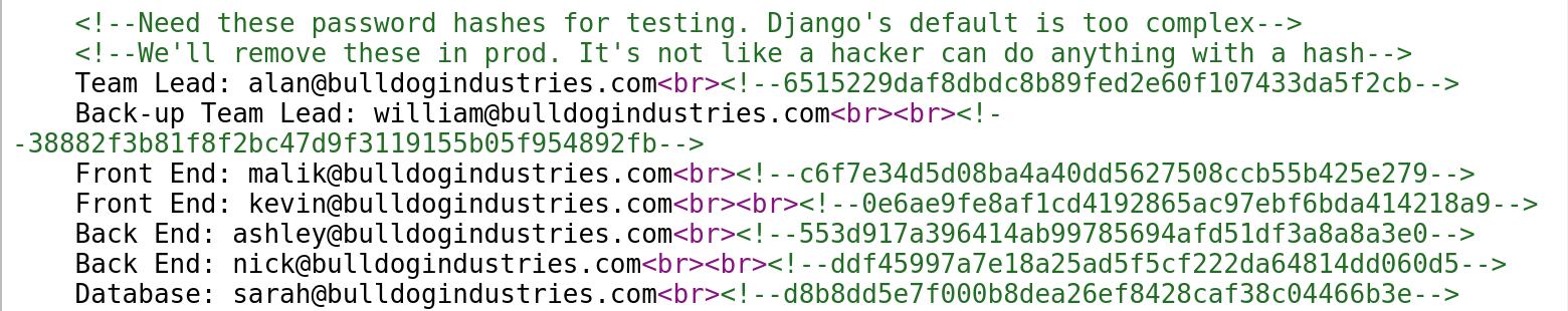 Discovering password hashes on target Bulldog 1 - vulnhub - CTF walkthrough - d7x