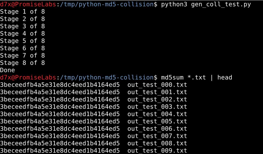 Generating md5 collisions using python md5 collision library - Homeless - vulnhub CTF walkthrough - d7x -PromiseLabs - blog