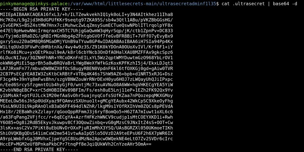 RSA Private key for user pinky - Pinky's Palace v1 - vulnhub CTF walkthrough - d7x - PromiseLabs - blog
