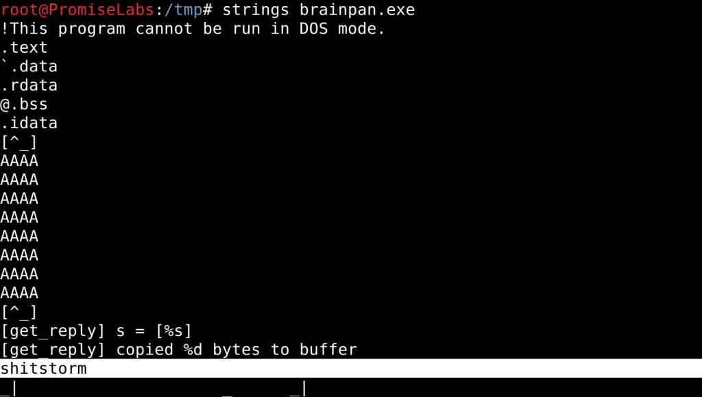"Retrieving password ""shitstorm"" on Brainpan 1 - vulnhub CTF walkthrough - d7x - PromiseLabs - blog"